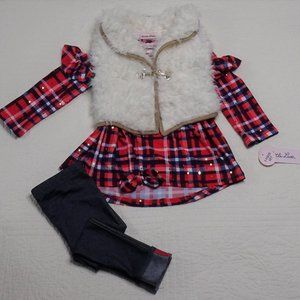 Cowgirl Faux Fur 3 piece Toddler outfit